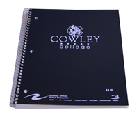 "Notebook Spiral 3 Sub ""C"" Cowley College"